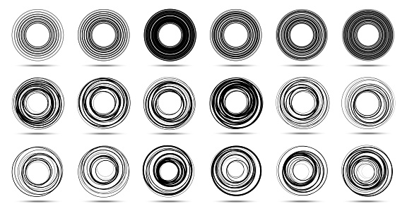 Circle lines isolated on the white background. Circular striped line frame set. . Logo design element. Round border using circle stripes texture. Vector emblem.