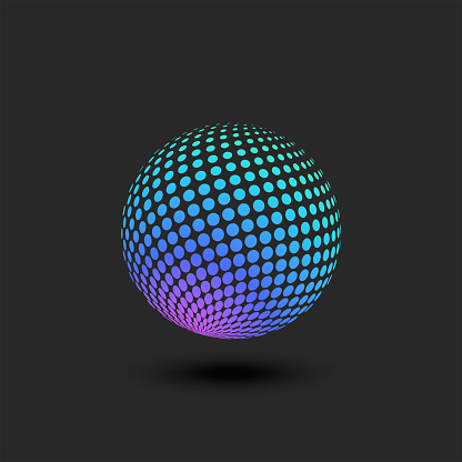 Circle logo from a dotted pattern in perspective multicolored bright gradient geometric 3D ball shape.