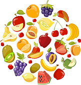 Circle made of fruits vector flat icons. Healthy organic food