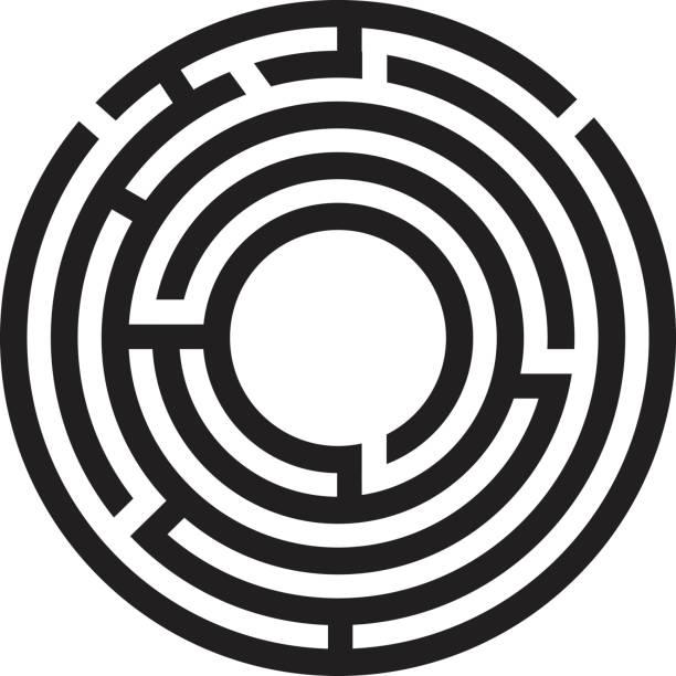 labyrinth kreissymbol auf weißem hintergrund. runde labyrinth-symbol. - labyrinthgarten stock-grafiken, -clipart, -cartoons und -symbole