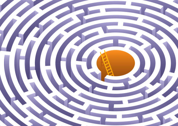 Circle Maze Challenging circle maze with solution escaping stock illustrations