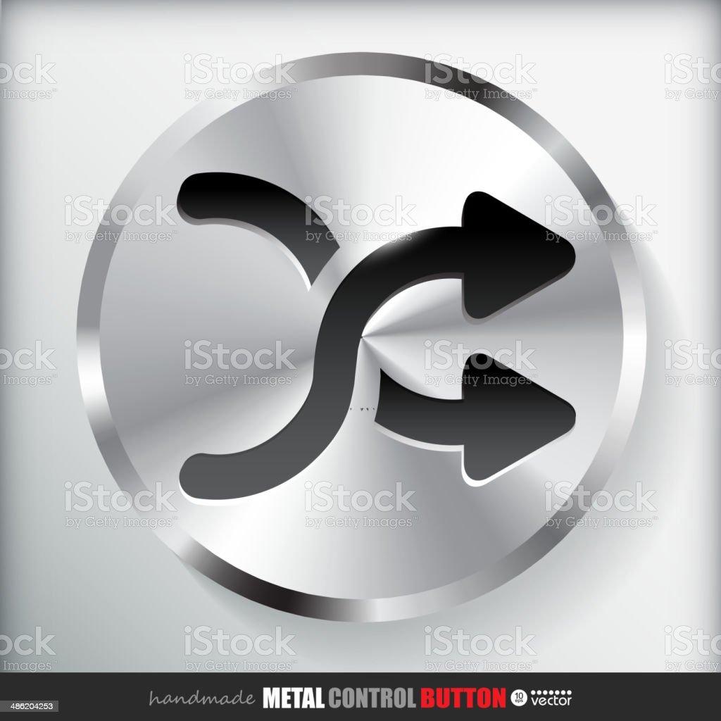 Circle Metal Shuffle Button. royalty-free stock vector art