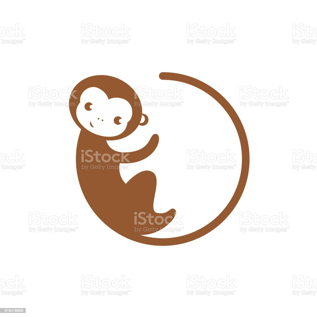 Circle Monkey Icon Vector In Modern Flat Style For Web Stock Vector