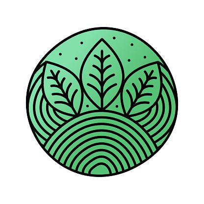 Simple and clean illustration circle mono line leaf