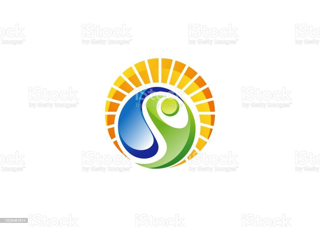 b1dc0c19dfee3 círculo natural pessoas bem-estar logotipo, saúde sol ecologia símbolo ícone  vector projeto ilustração