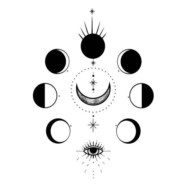 ilustrações de stock, clip art, desenhos animados e ícones de circle of a phase of the moon. sacred geometry. vector illustration isolated on a white background. print, potser, t-shirt, card. - seitas