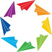 Vector illustration of colorful paper airplanes flying in a circle.