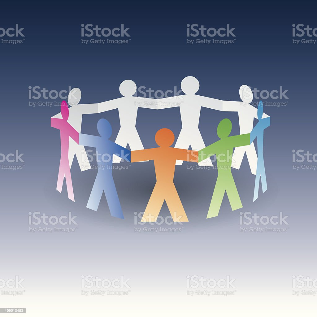 circle of colorful paper people royalty-free stock vector art