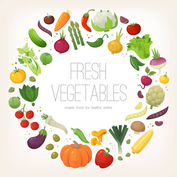 Circle of colorful vegetables Fresh colorful vegetables arranged in circle. Vector illustration. fruit borders stock illustrations