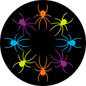 Vector illustration of colorful spiders forming a circle on a round black background.