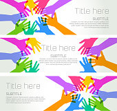 Colourful overlapping silhouettes of Hands forming a circle. Banner template