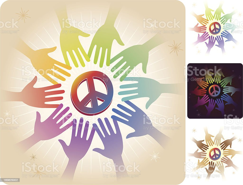 Circle of Hands - Peace vector art illustration