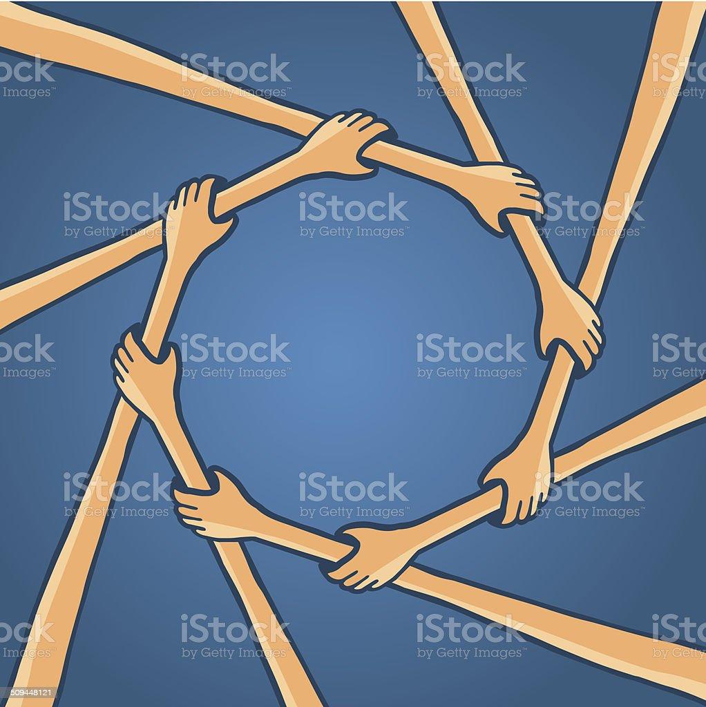 Circle of hands teamwork holding together vector art illustration