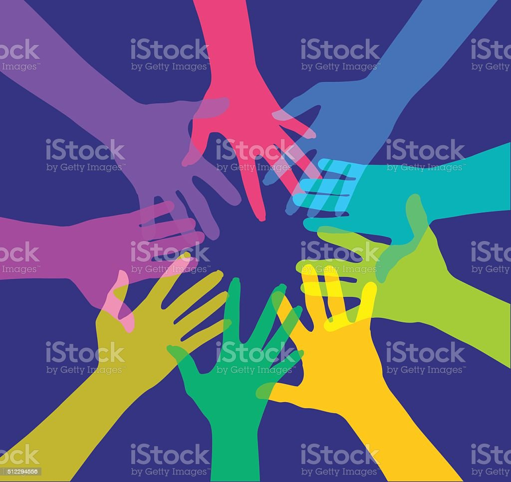Circle of Hands vector art illustration