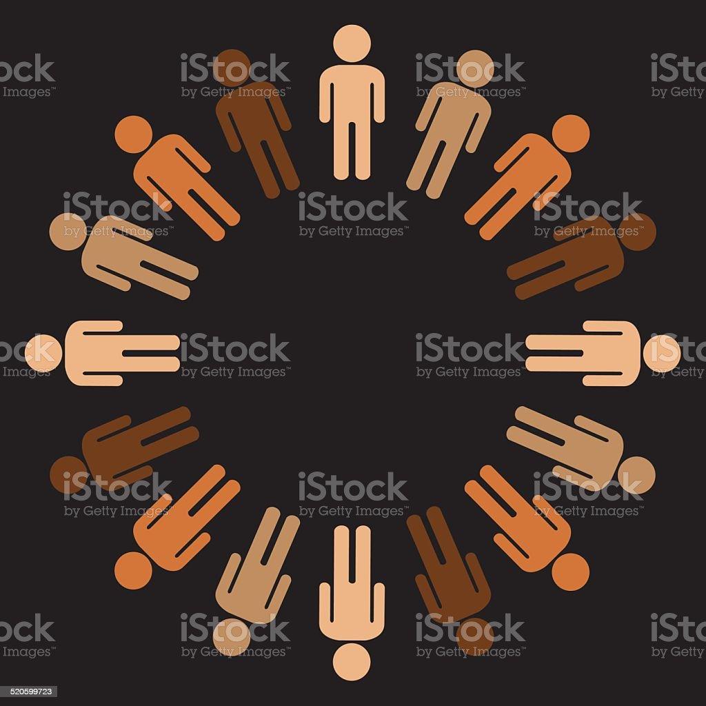 Circle of Multi Race People vector art illustration