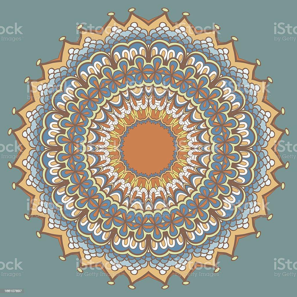 Circle ornament, ornamental round lace. Mandala. vector art illustration