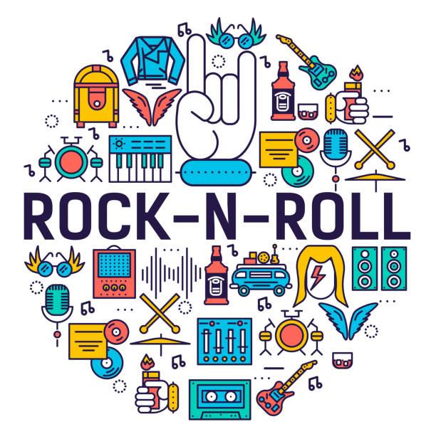 rock ' n ' roll-kreis kontur icons-set - tour bus stock-grafiken, -clipart, -cartoons und -symbole