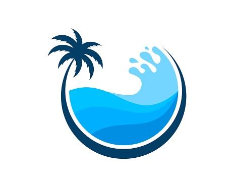 Circle palm tree with beach wave inside