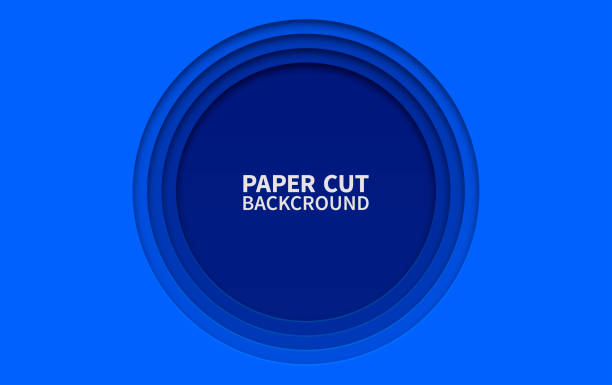 Circle paper cut background. Wavy blue layers. Abstract realistic paper design. Trendy carving art. 3d relief. Circle paper cut background. Wavy blue layers. Abstract realistic paper design. Trendy carving art. 3d relief carving craft activity stock illustrations