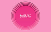 Circle paper cut background. Wavy pink layers. Abstract realistic paper design. Trendy carving art. 3d relief