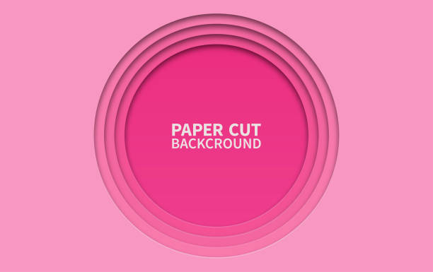 Circle paper cut background. Wavy pink layers. Abstract realistic paper design. Trendy carving art. 3d relief. Circle paper cut background. Wavy pink layers. Abstract realistic paper design. Trendy carving art. 3d relief layered stock illustrations