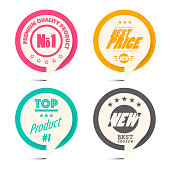 Circle Paper Retro Labels Set. Business Vector Label Set.