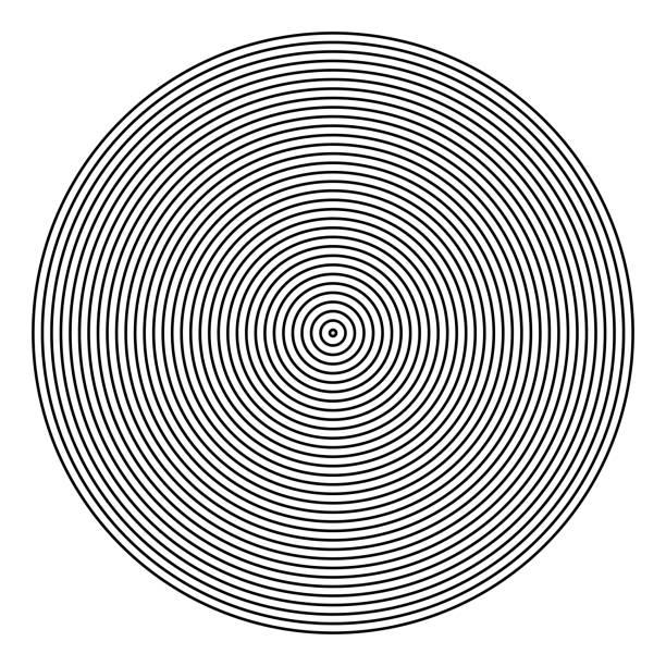 illustrazioni stock, clip art, cartoni animati e icone di tendenza di circle pattern. lines texture. - motivo concentrico
