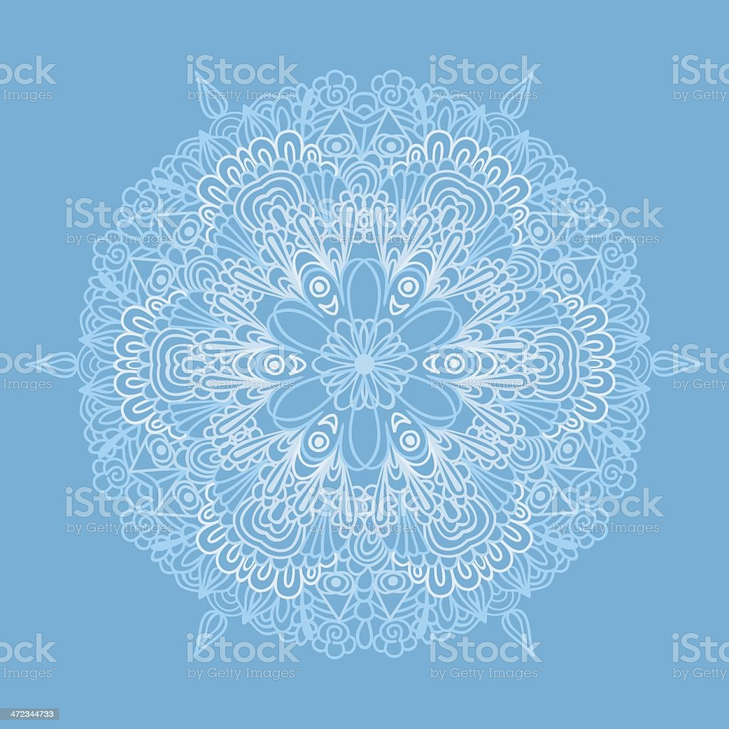 Circle pattern with lacy snowflake royalty-free stock vector art