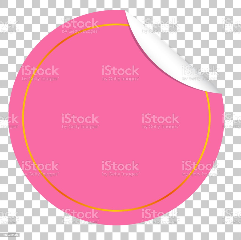Circle Pink Tag with Curl Effect royalty-free circle pink tag with curl effect stock vector art & more images of badge