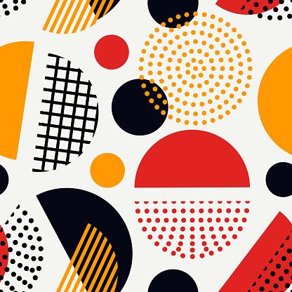 Circle, polka dot seamless pattern. Mixed texture irregular chaotic shapes print. Memphis stile geometric background