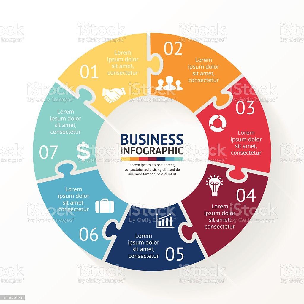Circle puzzle infographic, diagram, steps, 7 options vector art illustration
