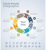 Circle puzzle data infographic concept with space for your copy. EPS 10 file. Transparency effects used on highlight elements.