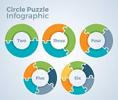 Circle puzzle data infographic with two, three, four, five and six piece versions with space for your copy.