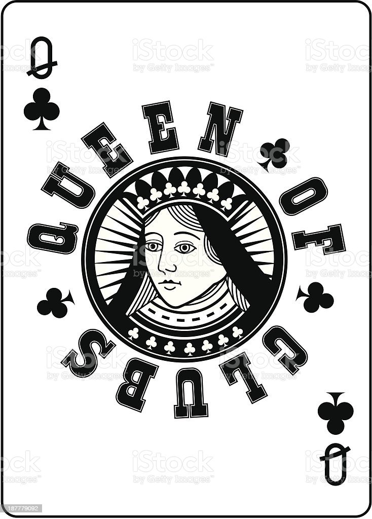 Circle Queen of Clubs vector art illustration