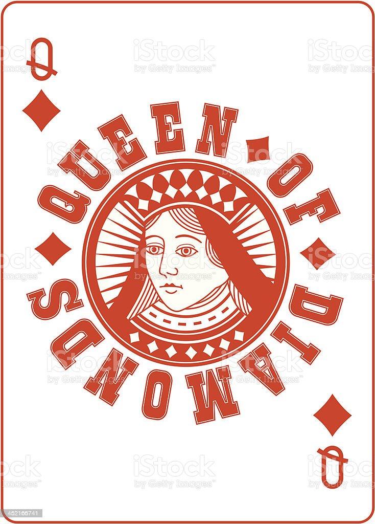 Circle Queen of Diamonds vector art illustration