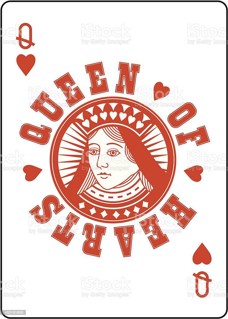 Circle Queen of Hearts vector art illustration