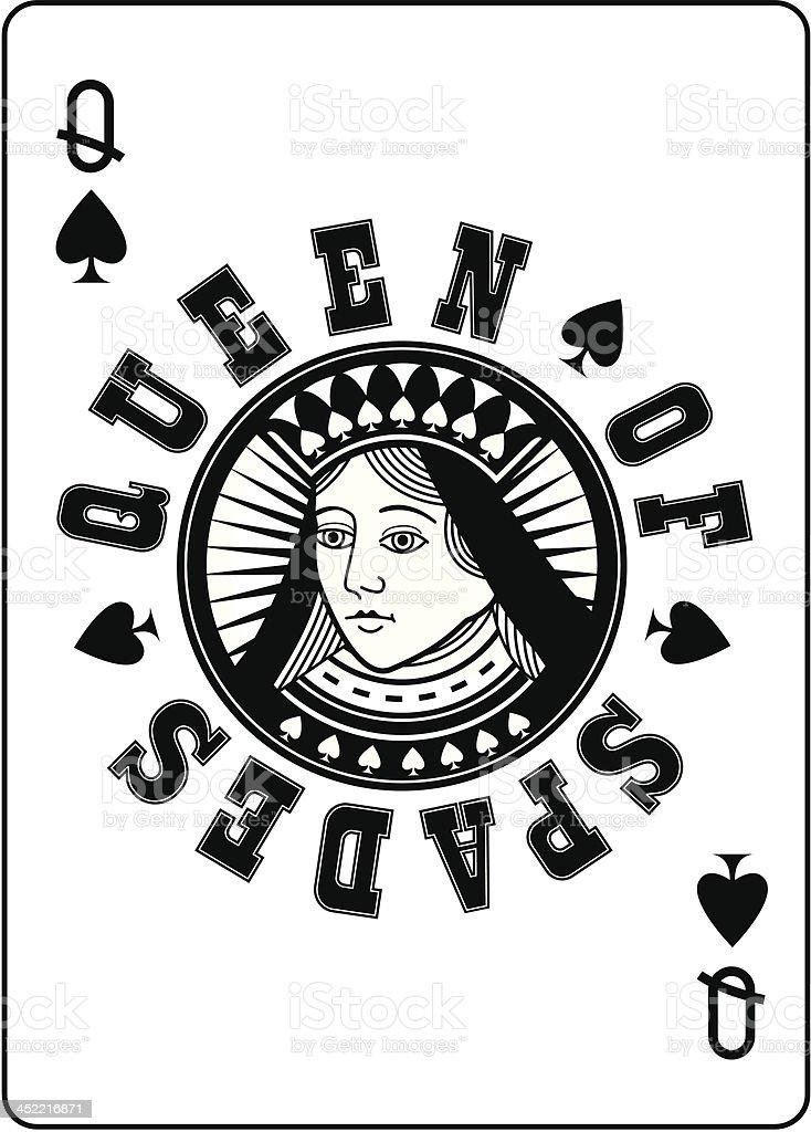 Circle Queen of Spades vector art illustration