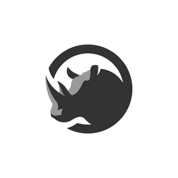 Circle Rhino Logo Design Inspiration Rhino, Wild Animal Icon rhinoceros stock illustrations