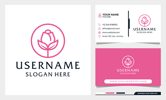 Circle Rose flower logo design, beauty spa or cosmetics logo with business card template