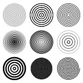 Circles, targets, spirals round design elements collection.