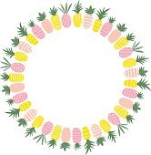 Circle rounded frame with the different colored pineapples. Vector illustration.