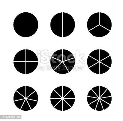 Circle segments set. Infographic vector illustration. Various number of sectors divide the circle on equal parts. Black flat fill.