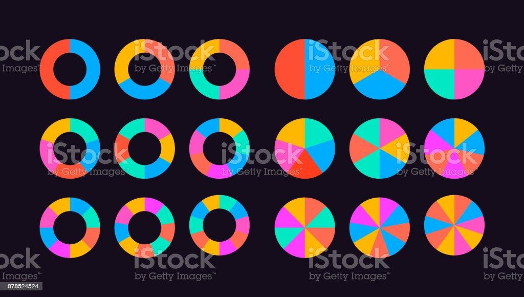circle segments set vector vector art illustration