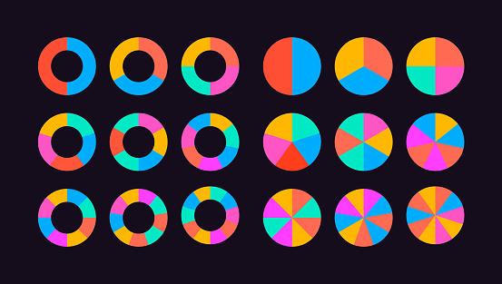 Circle Segments Set Vector Stock Illustration - Download Image Now