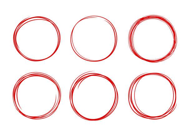 Circle Selection Editing Hand Drawn Lines vector art illustration