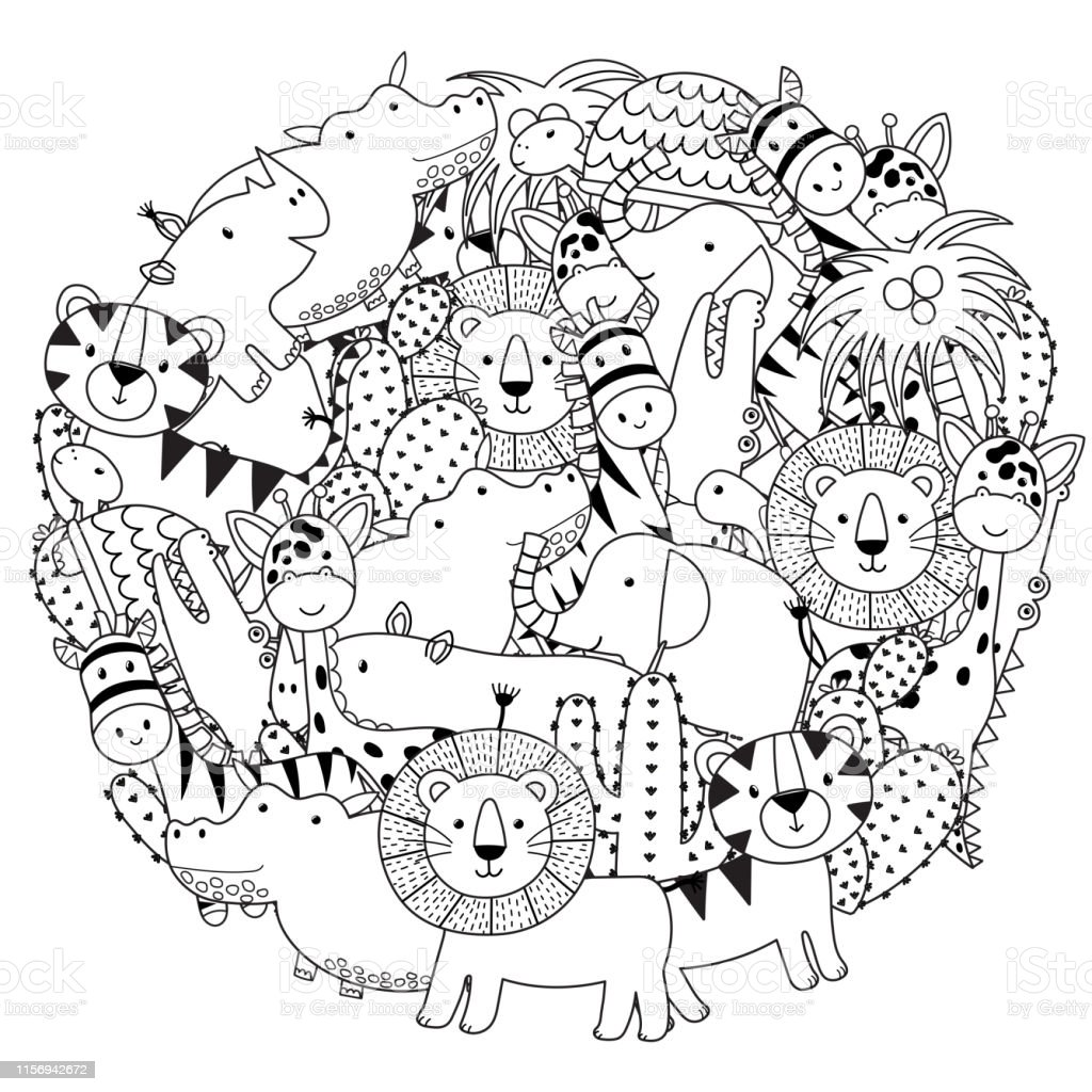 circle shape coloring page with safari animals black