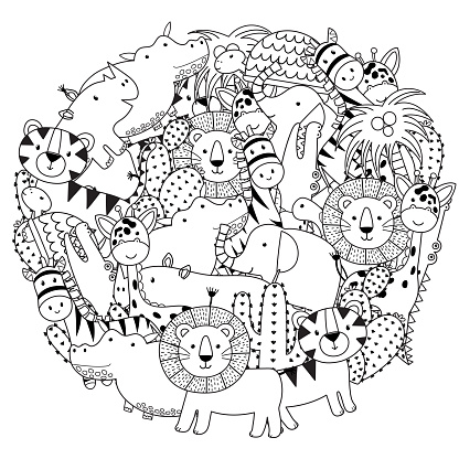 Circle shape coloring page with funny safari animals. Black and white print