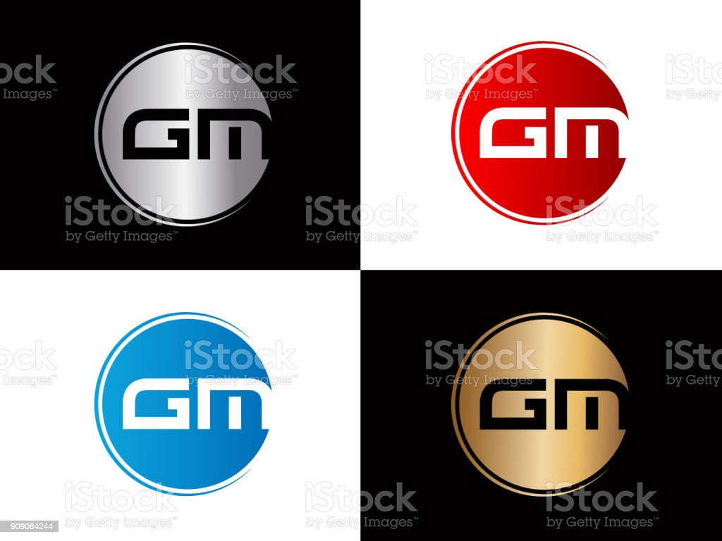 Gm Circle Shape Letter Design Stock Vector Art More Images Of