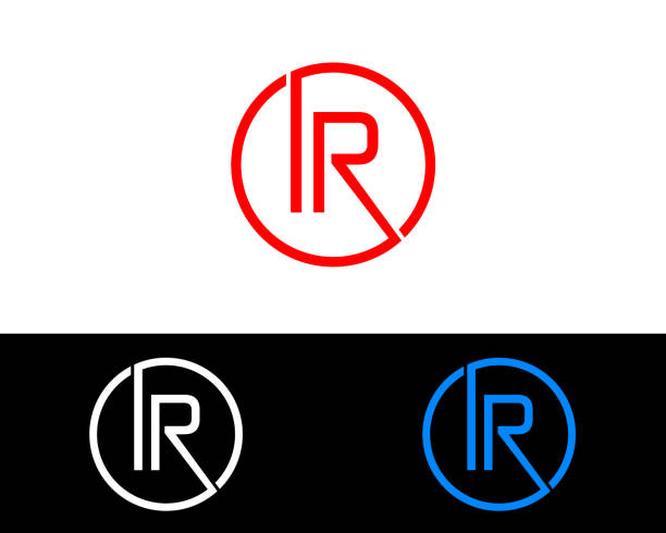 IR circle shape Letter Design IR circle shape Letter Design Blue Red and silver gold colored infrared stock illustrations