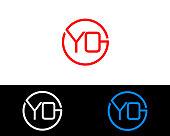 YO circle shape Letter Design